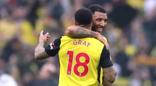 Andre Gray (left) and Troy Deeney helped Watford into the FA Cup final (Nick Potts/PA)