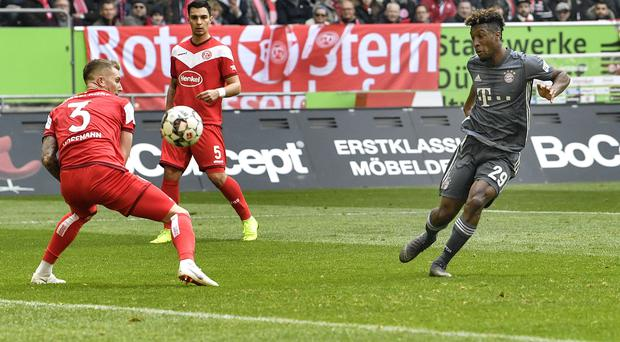 Kingsley Coman scored twice as Bayern Munich defeated Fortuna Dusseldorf 4-1 (Martin Meissner/AP)