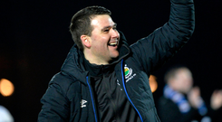 Party time: David Healy celebrates Linfield wrapping up their Gibson Cup triumph