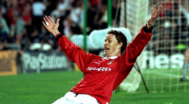 Heroic moment: Ole Gunnar Solskjaer celebrates after scoring that famous winning goal for Manchester United during the Champions League final against Bayern Munich in the Nou Camp 20 years ago