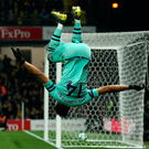 High point: Arsenal ace Pierre-Emerick Aubameyang celebrates his winner against Watford at Vicarage Road