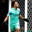 On a plate: Arsenal's Pierre-Emerick Aubameyang celebrates scoring