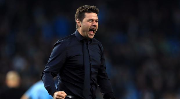 Mauricio Pochettino celebrates as Tottenham see off Manchester City on away goals (Mike Egerton/PA)