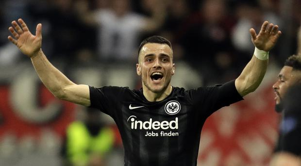Filip Kostic opened the scoring as Eintracht Frankfurt beat Benfica 2-0 to progress in the Europa League (Michael Probst/AP)