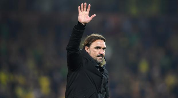 Daniel Farke's Canaries can seal promotion to the Premier League on Monday (Joe Giddens/PA)