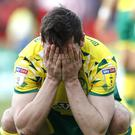 Norwich's Kenny McLean reacts to dropping two points (Martin Rickett/PA).