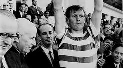 Hoop dreams: Celtic skipper Billy McNeill lifts the European Cup in 1967