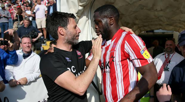 Lincoln manager Danny Cowley and striker John Akinde were able to celebrate a successful campaign (Richard Sellers/PA)