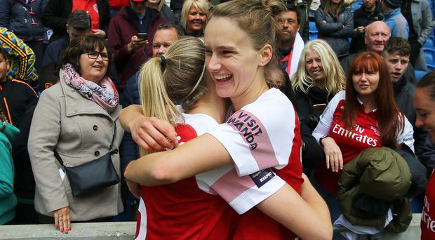 Vivianne Miedema, right, has fired Arsenal to the WSL title (Mark Kerton/PA)