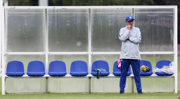 Chelsea manager Maurizio Sarri during the training session at Cobham (Steven Paston/PA)