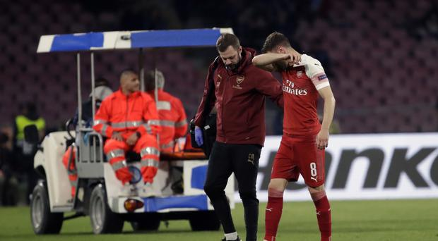 Arsenal's Aaron Ramsey suffered a hamstring injury in his side's win away to Napoli (Luca Bruno/PA)