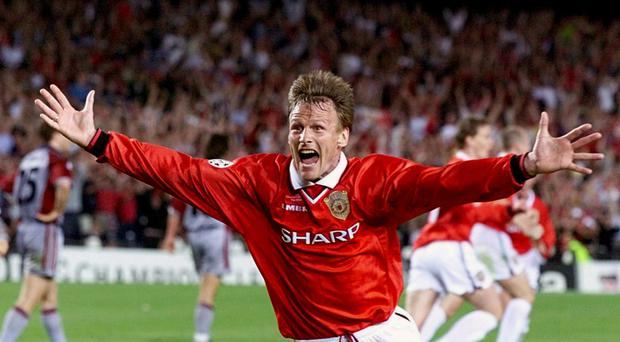 Teddy Sheringham celebrates his equaliser for Manchester United in 1999 (Phil Noble/PA)