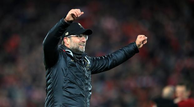 Liverpool manager Jurgen Klopp celebrates after the UEFA Champions League Semi Final (Peter Byrne/PA)
