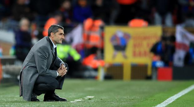 """Barcelona boss Ernesto Valverde is """"in the cross hairs"""" after the debacle at Liverpool (Peter Byrne/PA)"""