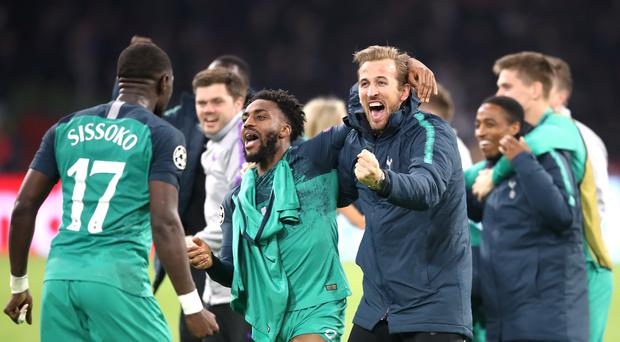 Tottenham's Moussa Sissoko (left), Danny Rose and Harry Kane (right) celebrate after the club booked their place in the Champions League final (Adam Davy/PA)