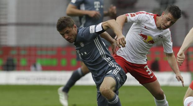 Bayern Munich's Thomas Mueller trying to score in a goalless draw with Leipzig (Michael Probst/AP)