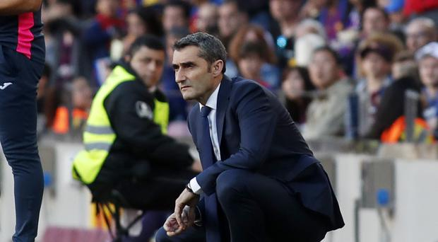 Barcelona coach Ernesto Valverde insists he is not thinking about resigning (AP Photo)