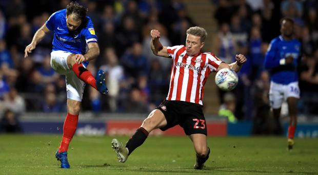 Sunderland's Grant Leadbitter (right) in action at Portsmouth. (Adam Davy/PA)