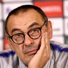 Maurizio Sarri has led Chelsea to third place in the Premier League and the Europa League final in his first season as manager (Tim Goode/PA).