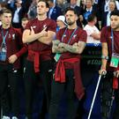 Liverpool's Alex Oxlade-Chamberlain, right, on crutches due to a knee injury during the UEFA Champions League Final at the NSK Olimpiyskiy Stadium, Kiev (Mike Egerton/PA)