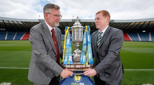 Celtic manager Neil Lennon (right) does not want his side looking any further ahead than Saturday's William Hill Scottish Cup final with Craig Levein's Hearts (Steve Welsh/PA)