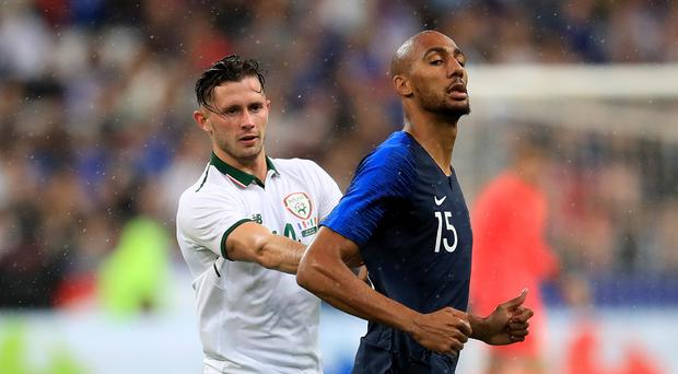 Republic of Ireland midfielder Alan Browne, left, in action against World Cup winners France (Adam Davy/PA)