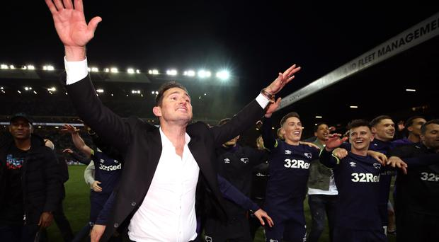 Derby manager Frank Lampard will be hoping to celebrate a play-off final victory over Aston Villa (Nick Potts/PA)