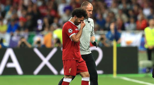 Liverpool forward Mohamed Salah left the pitch in tears after injury in last year's Champions League final (Mike Egerton/PA)