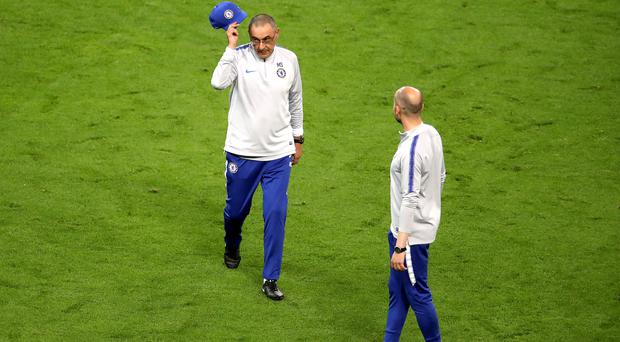 Maurizio Sarri appeared to throw off his cap before storming out of training (Adam Davy/PA)
