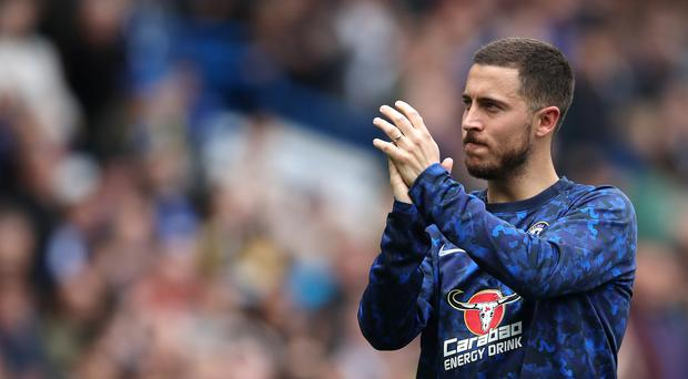 Chelsea's Eden Hazard reacts after the final whistle during the Premier League match at Stamford Bridge, London.