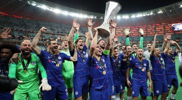 Chelsea celebrate with the trophy (Bradley Collyer/PA)