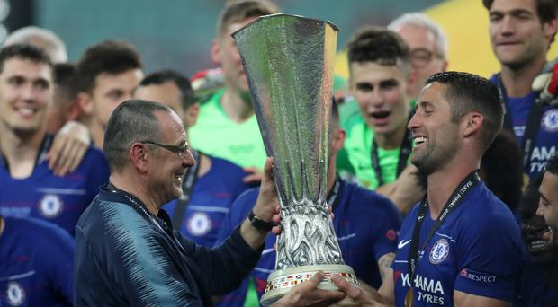 Maurizio Sarri (left) says he is 'happy at Chelsea (Bradley Collyer/PA)