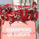 Liverpool celebrated with a victory parade around the city on Sunday (Barrington Coombs/PA)