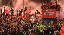 Fanatical return: More than 750,000 welcomed the Liverpool team back to the city