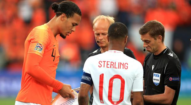 Raheem Sterling wore the armband (Mike Egerton/PA)