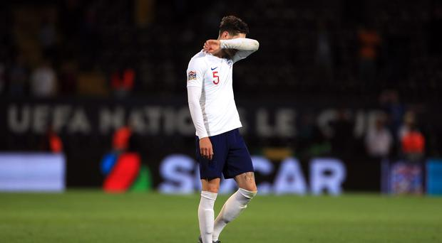 England's John Stones appears dejected after the Nations League Semi Final (Mike Egerton/PA)