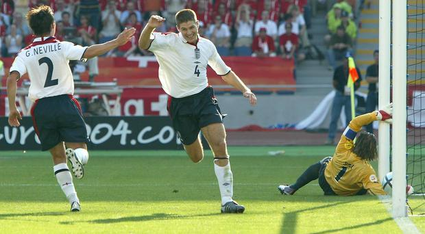 Steven Gerrard was on target for England against Switzerland at Euro 2004 (Owen Humphreys/PA)