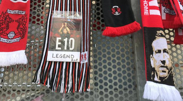 Tributes left outside Leyton Orient's Brewer Group Stadium in east London (Stephen Jones/PA)