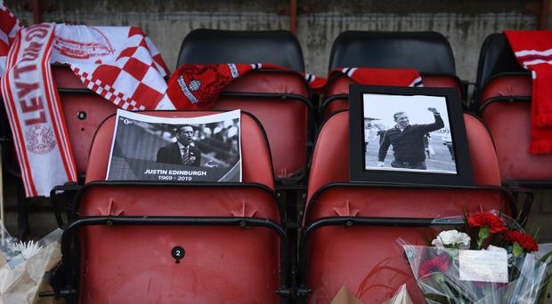 Tributes left in the dugout at Leyton Orient following the death of manager Justin Edinburgh (Stephen Jones/PA)