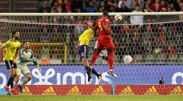 Belgium's Romelu Lukaku scores his side's first goal against Scotland (Bradley Collyer/PA)