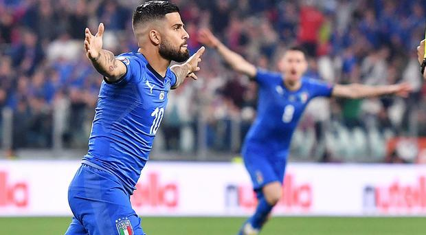 Lorenzo Insigne scored a fine goal and then created Italy's late winner in Turin (Alessandro Di Marco/AP)