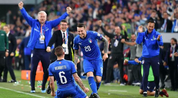 Marco Verratti (left) hit a late winner as Italy came from behind against Bosnia-Herzegovina in Turin (Alessandro Di Marco/ANSA via AP)