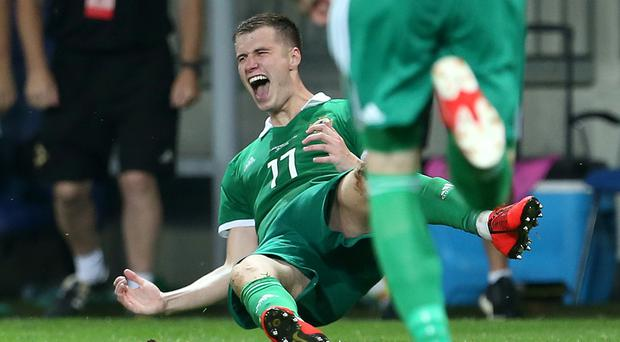 Paddy McNair celebrates his first Northern Ireland goal (Steven Paston/PA)