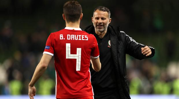 Ben Davies has defended Ryan Giggs, right, after the Wales manager took the flak for back-to-back Euro 2020 qualifying defeats to Croatia and Hungary (Liam McBurney/PA)