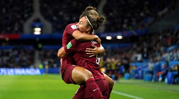 Jodie Taylor (right) celebrates her winning goal against Argentina (John Walton/PA).