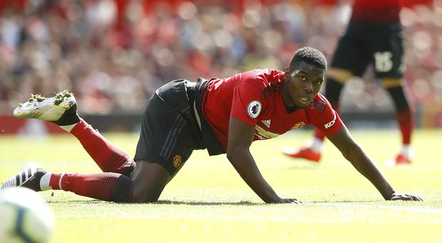 Manchester United's Paul Pogba watches the ball go out of play during the game against Cardiff City, during the Premier League match at Old Trafford, Manchester.