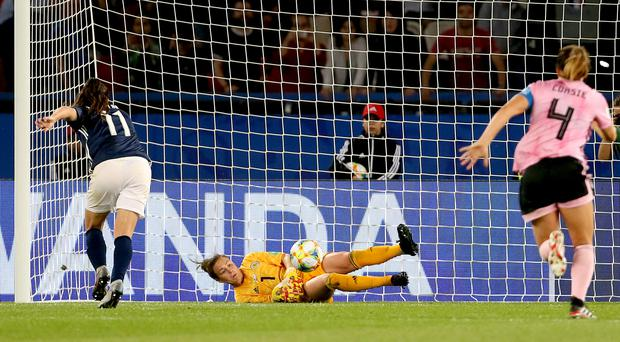 With the game in added time, Scotland's Lee Alexander saved Florencia Bonsegundo's first penalty but VAR saw that she moved too soon and the Argentine equalised with her second go (Richard Sellers/PA)
