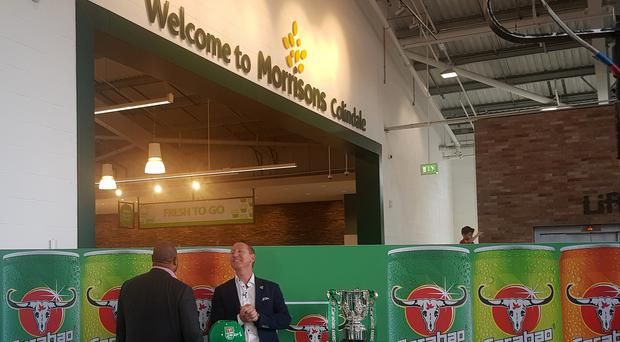 John Barnes and Ray Parlour at Morrison's (Mark Mann-Bryans PA)