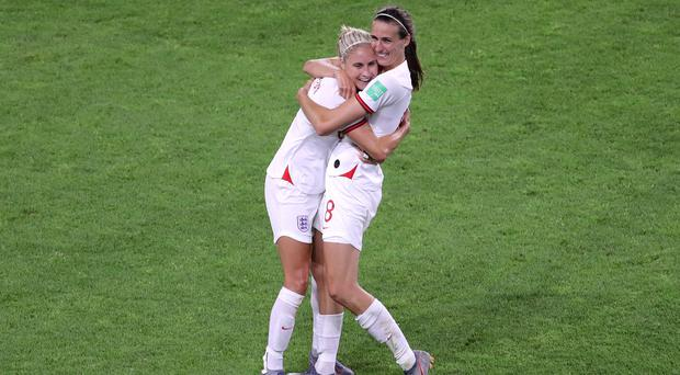 England's Steph Houghton (left) and Jill Scott celebrate the win over Norway (Richard Sellers/PA)