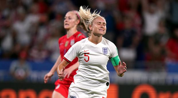 Steph Houghton reacts after missing her penalty against the United States (John Walton/PA)